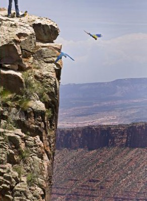 Flying off the cliffs in Moab, Utah